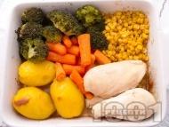 Бяло пилешко месо със зеленчуци на фурна